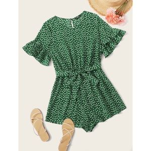 🆕SHEIN Green Floral Romper Outfit L XL New